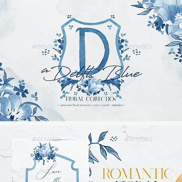 Delft Blue Floral Illustration Pack