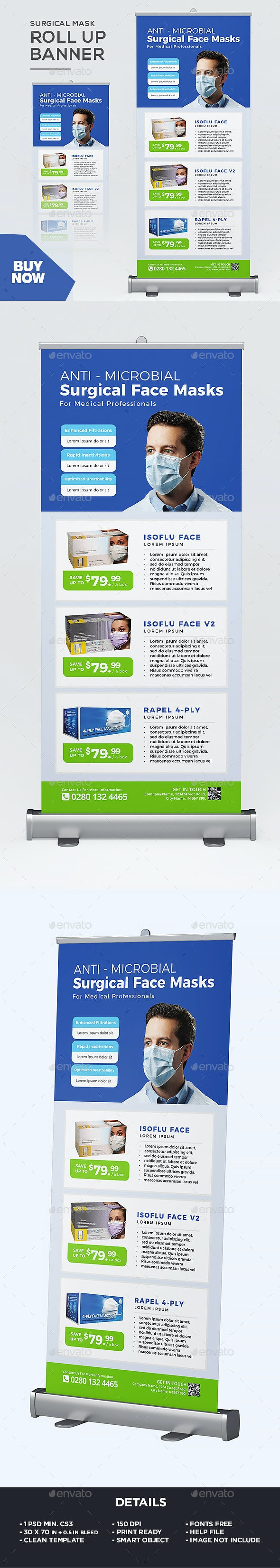 Surgical Mask Roll Up Banner - Signage Print Templates