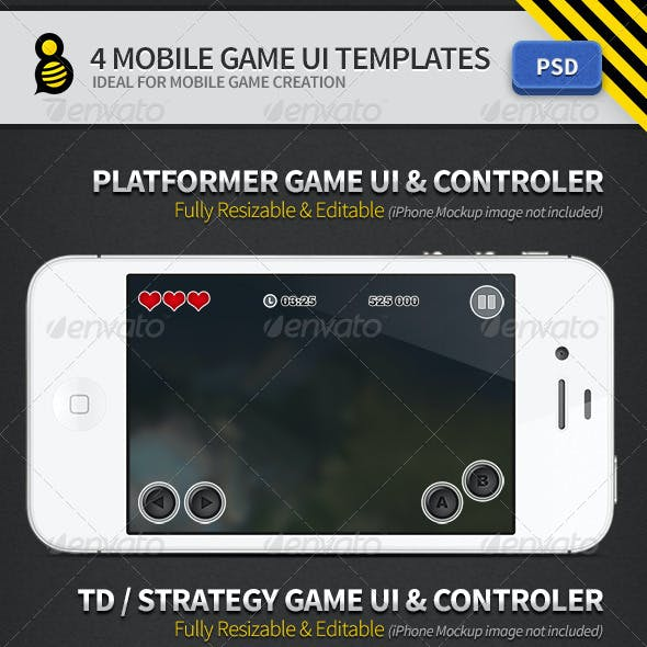 4 Mobile Game UI Templates