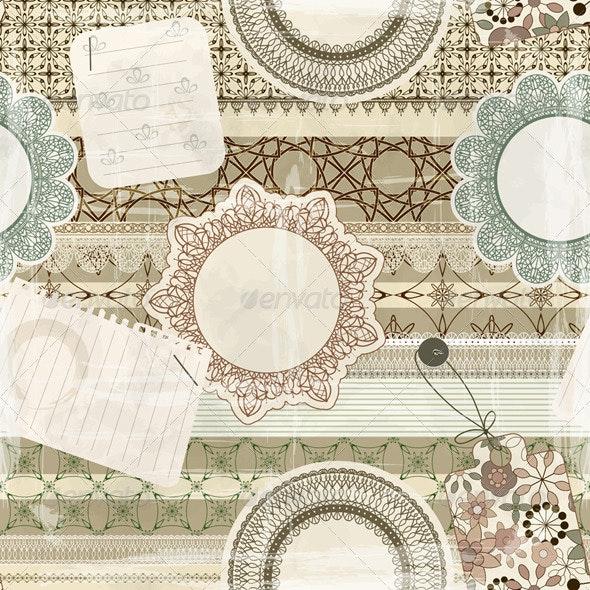 Vector Seamless Scrapbook Pattern - Patterns Decorative