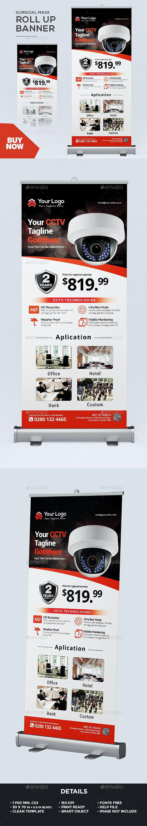 Roll Up Banner - CCTV Product - Signage Print Templates