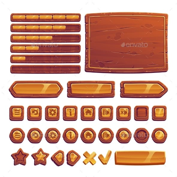 Wooden and Gold Buttons for Ui Game Gui Elements