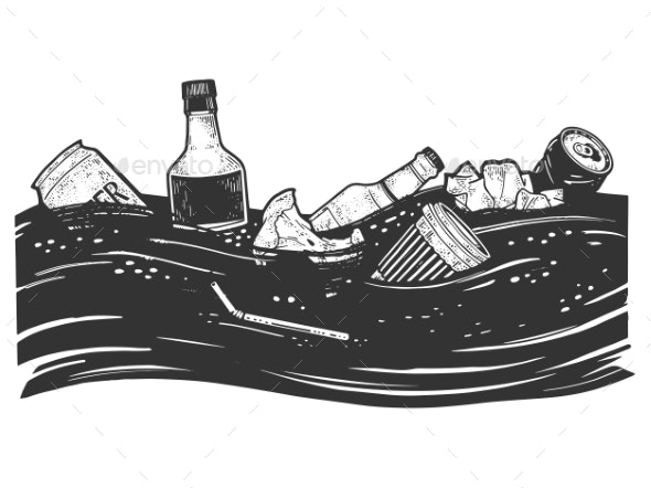 Ocean Pollution Sketch Vector Illustration - Landscapes Nature