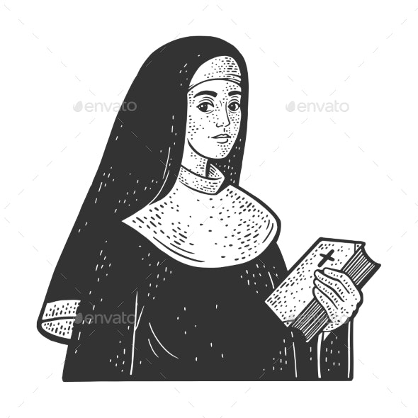Christian Nun Sketch Vector Illustration - People Characters