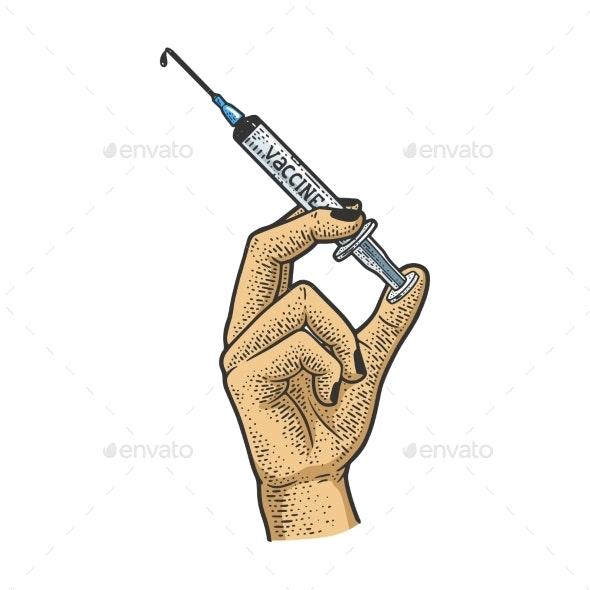 Syringe with Vaccine Sketch Vector Illustration - Health/Medicine Conceptual