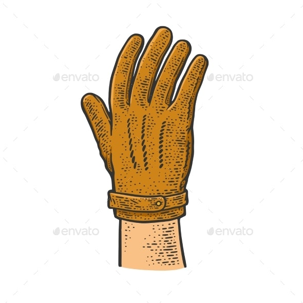 Leather Glove Sketch Vector Illustration - Man-made Objects Objects