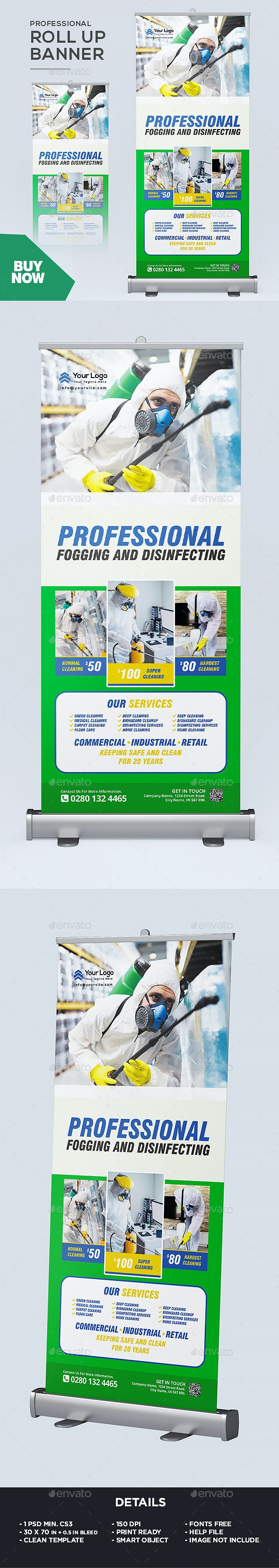 Professional Disinfecting Services Roll up Banner - Signage Print Templates