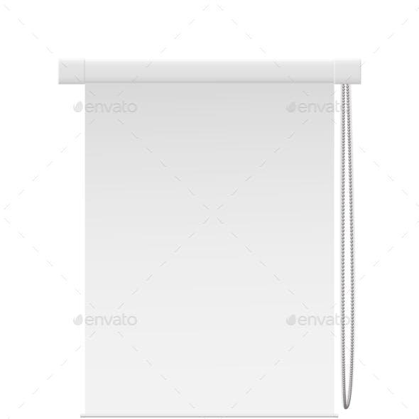 Inside Blind Room Window Isolated on White