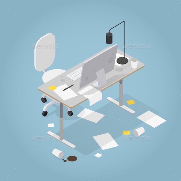 Isometric Messy Office Illustration