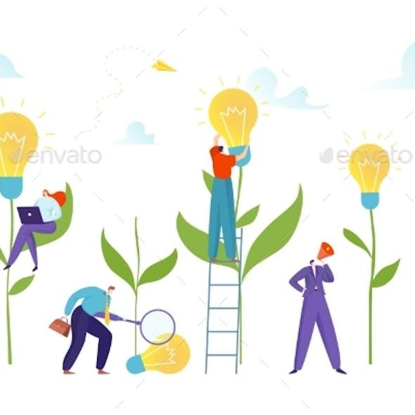 Bulb Field Tiny People Grow New Idea Concept