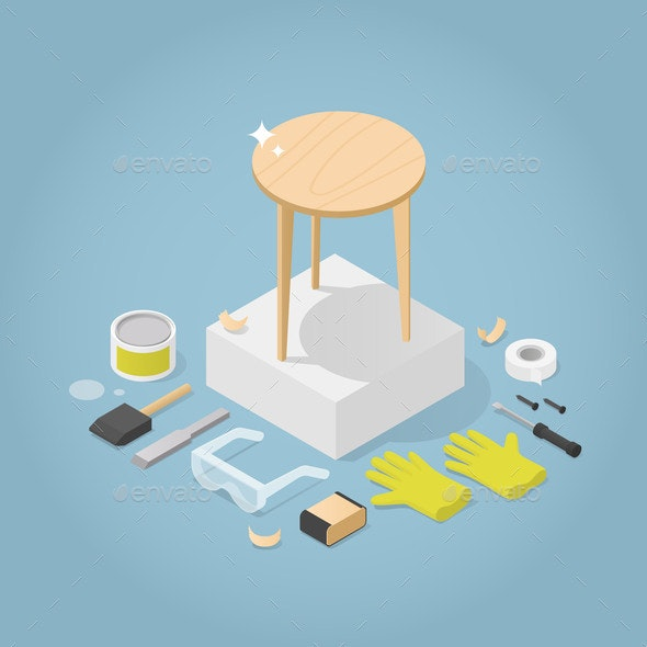 Isometric Furniture Repair Illustration - Objects Vectors