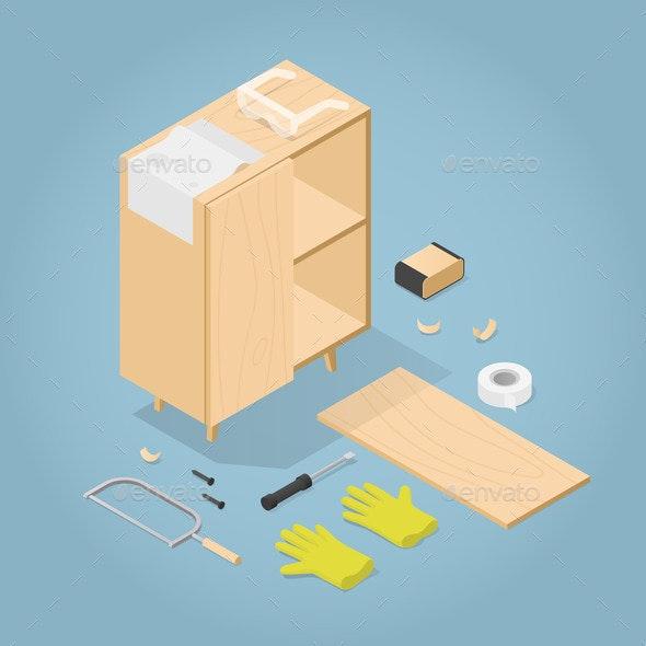 Isometric Furniture Renovation Illustration - Objects Vectors