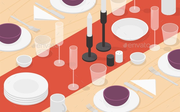 Isometric Table Setting Illustration - Objects Vectors