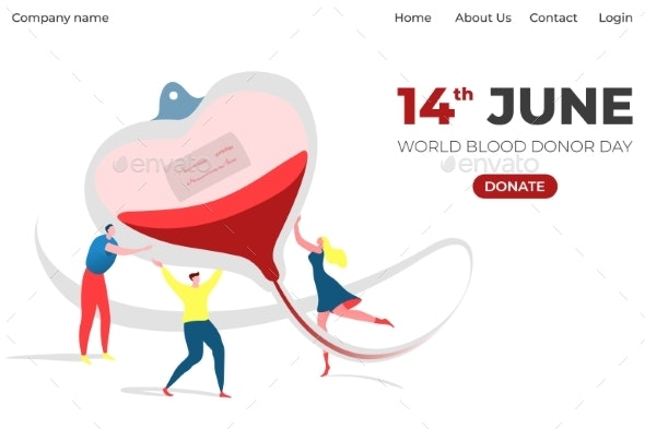 World Donor Day Information Landing Banner with - Health/Medicine Conceptual