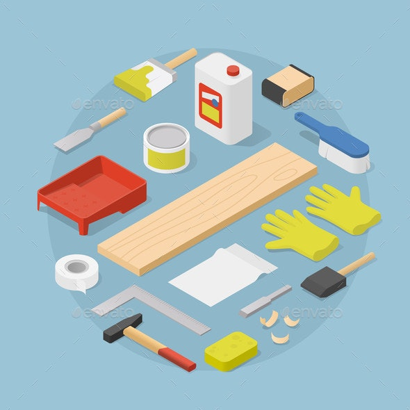 Isometric Woodwork Tools Illustration - Industries Business