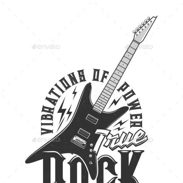Tshirt Print with Electric Guitar Vector Emblem