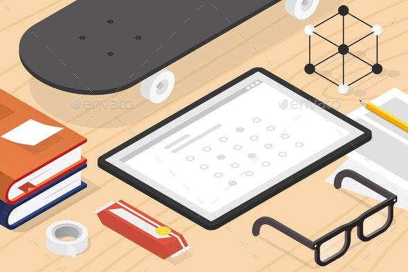 Isometric Online Exam Illustration - Miscellaneous Vectors