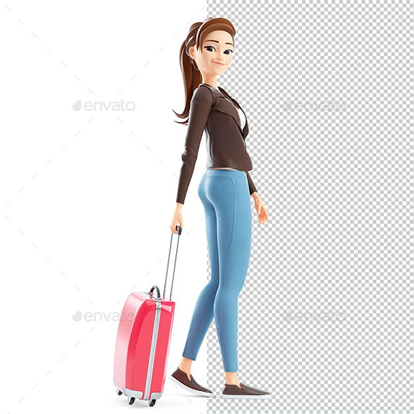3D Cartoon Woman Walking with Travel Suitcase