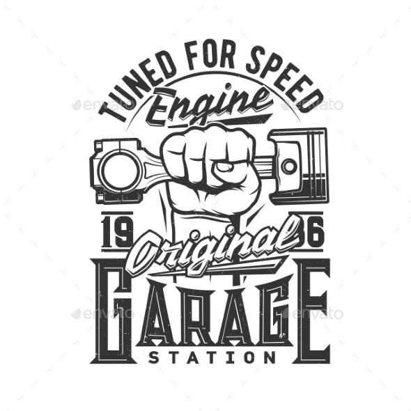 Tshirt Print with Hand Holding Car Engine Valve