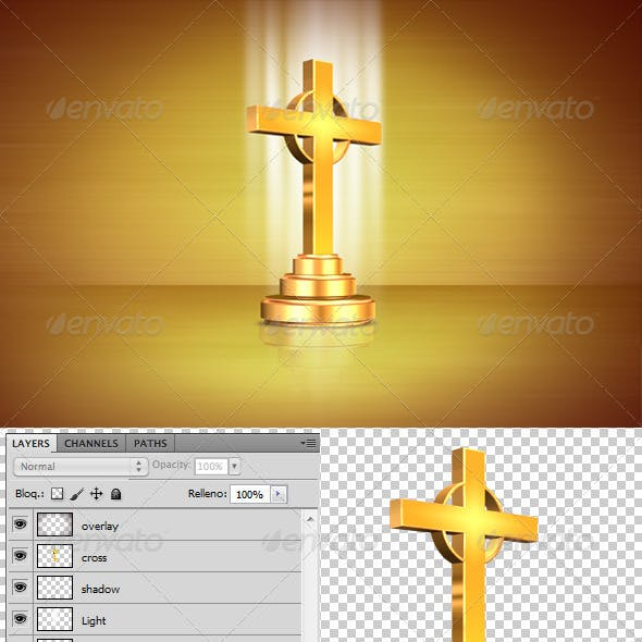 Gold Cross 3D