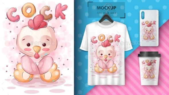 Cute Teddy Cock  Poster and Merchandising - Animals Characters