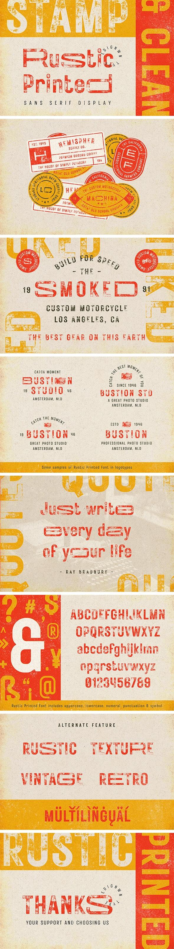 Rustic Printed - Vintage Font - Condensed Sans-Serif