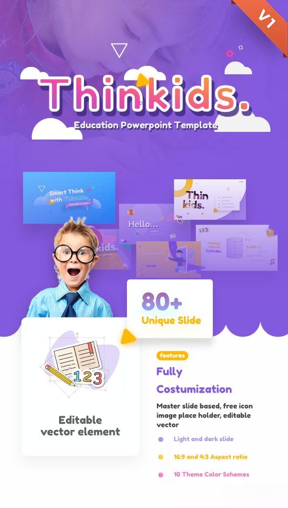 Thinkids - Fun Games & Education PowerPoint Template - PowerPoint Templates Presentation Templates