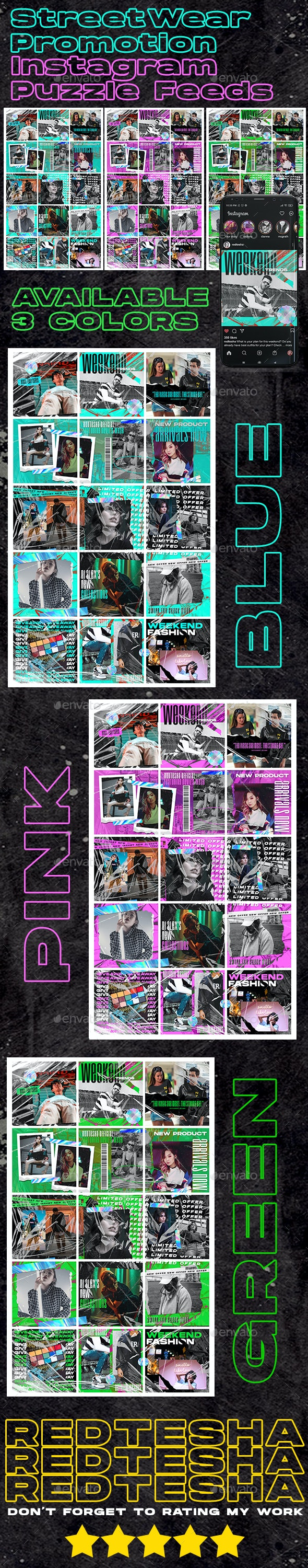 3 PSD Streetwear Instagram Feed Puzzle - Banners & Ads Web Elements