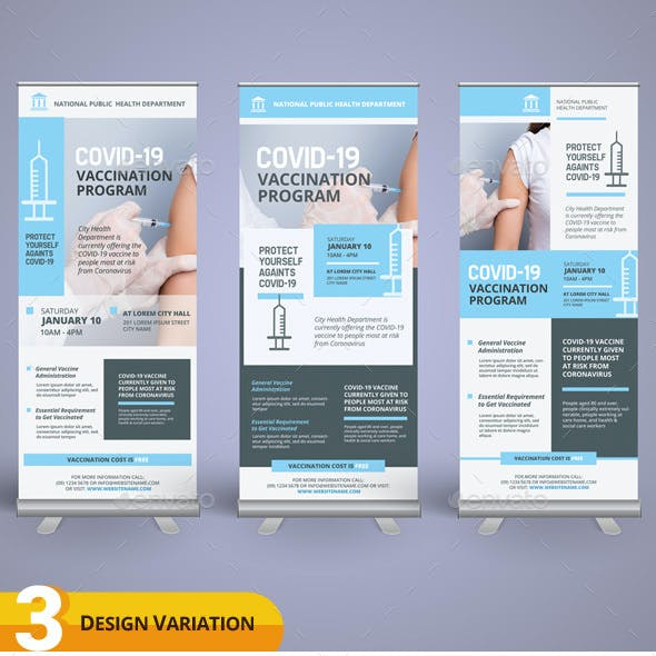 Covid-19 Vaccination Roll-up Banner Templates