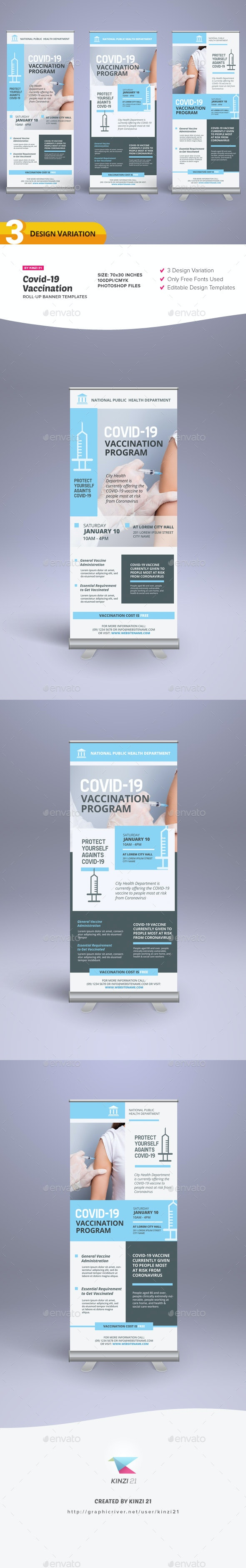 Covid-19 Vaccination Roll-up Banner Templates - Signage Print Templates