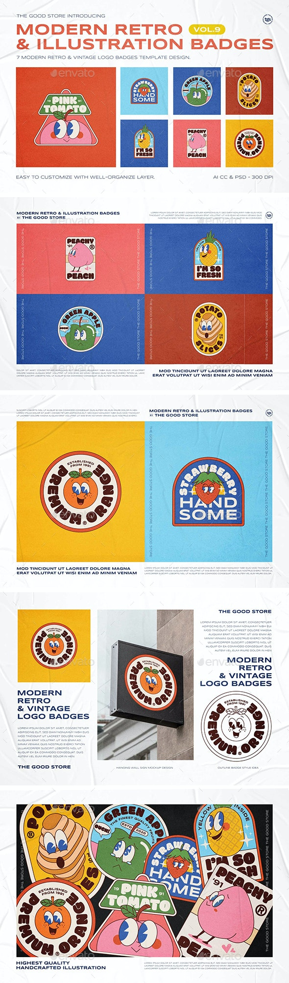 Modern Retro Illustration Logo Badges Set Vol.9 - Badges & Stickers Web Elements
