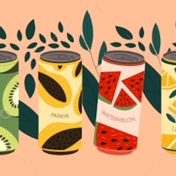 Various Tasty Soda Beverages Set