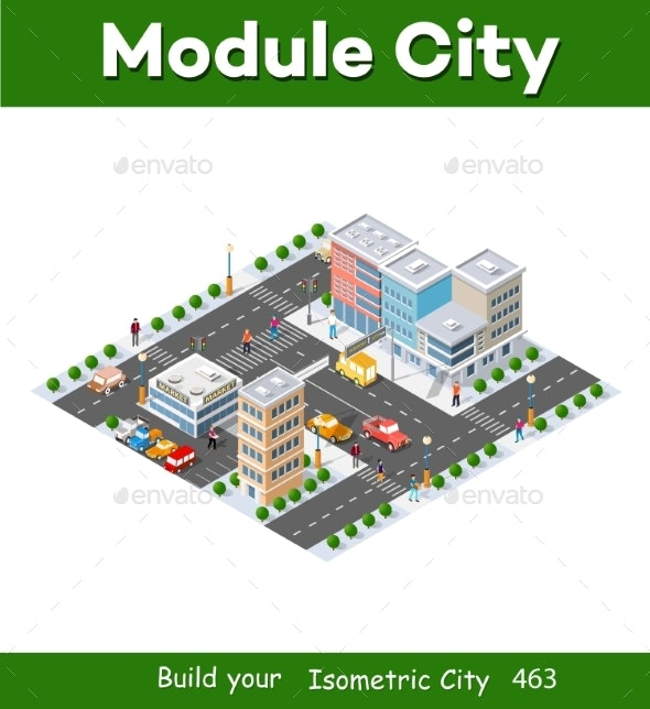 Megapolis 3d Isometric Threedimensional View - Buildings Objects