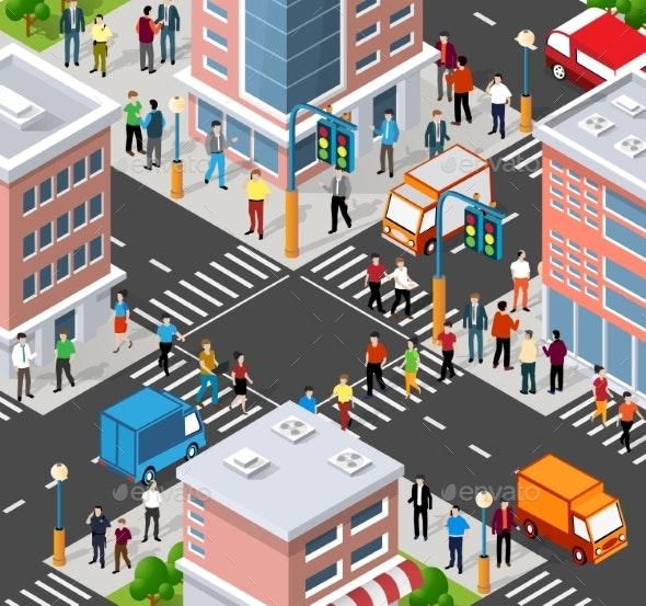 Isometric People Walking on the Street - People Characters