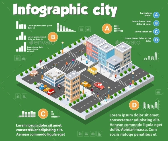 Isometric City Map Industry Infographic Set with - Industries Business