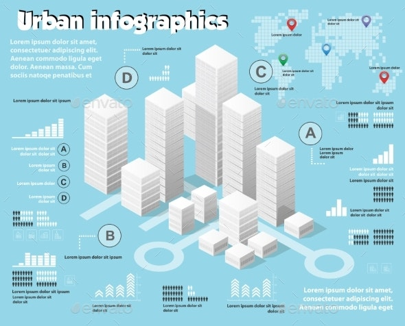 Isometric City Map Industry Infographic Set - Industries Business