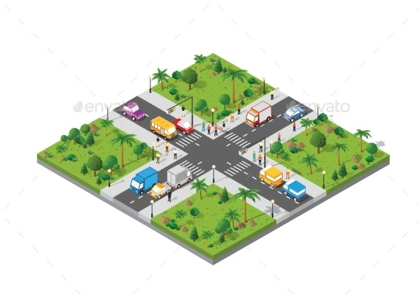 Isometric Crossroads Intersection of Streets with - Technology Conceptual