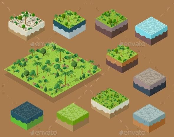 Set Isometric 3d Trees Forest Nature Elements - Flowers & Plants Nature
