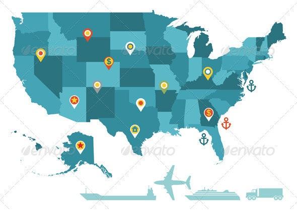 USA map vector by serkorkin | GraphicRiver