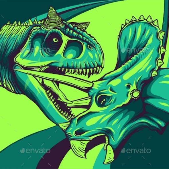 Vector Tracing of Dinosaur Tyrannosaurus Is