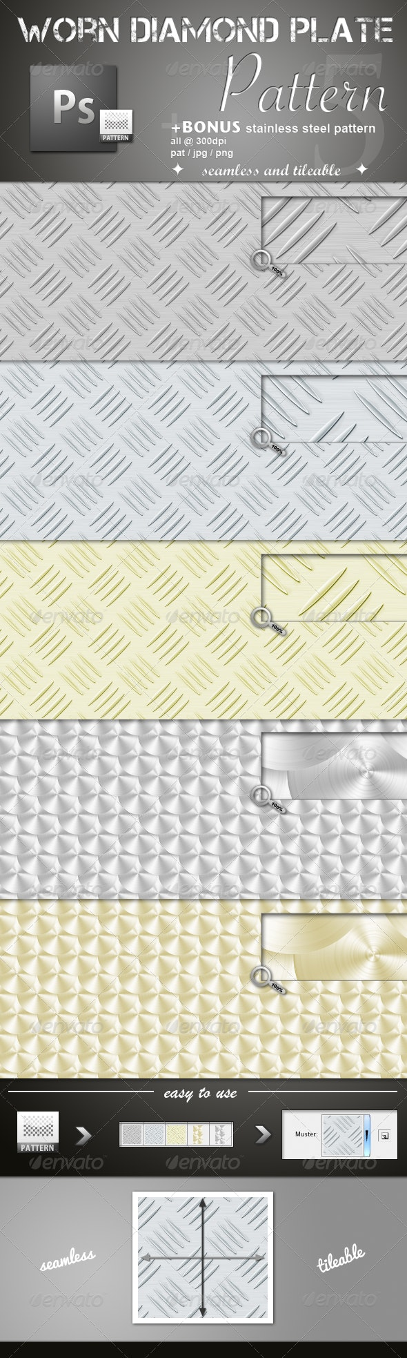 Worn Diamond Plate Pattern - Miscellaneous Textures / Fills / Patterns