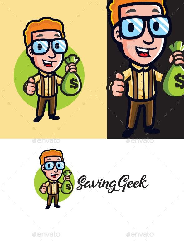 Money Saving Geek Mascot Logo - Humans Logo Templates
