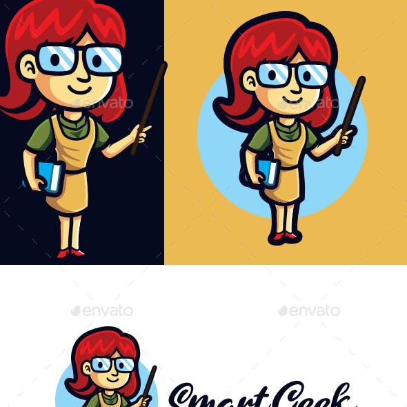 Female Smart Geek Mascot Logo
