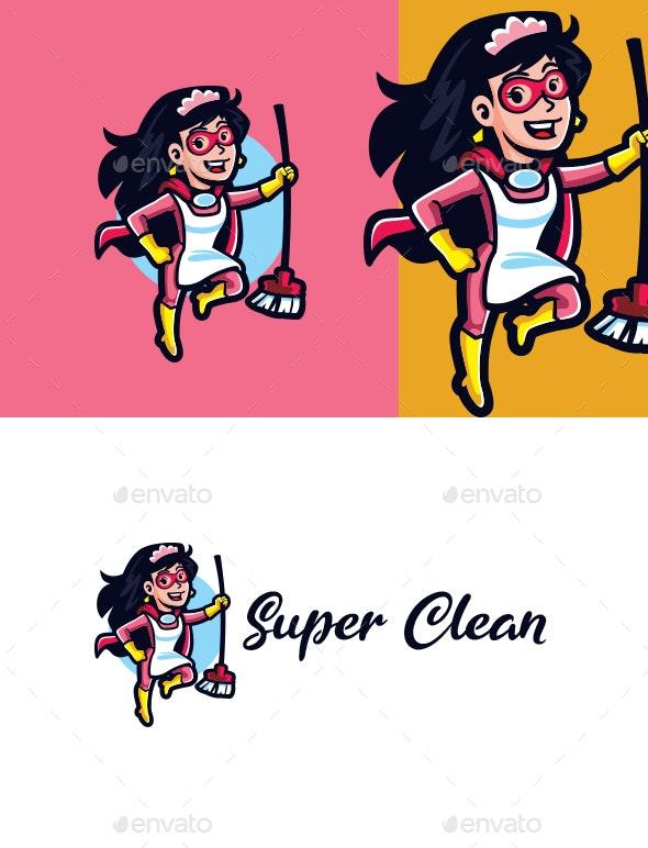 Super Maid Mascot Logo - Humans Logo Templates