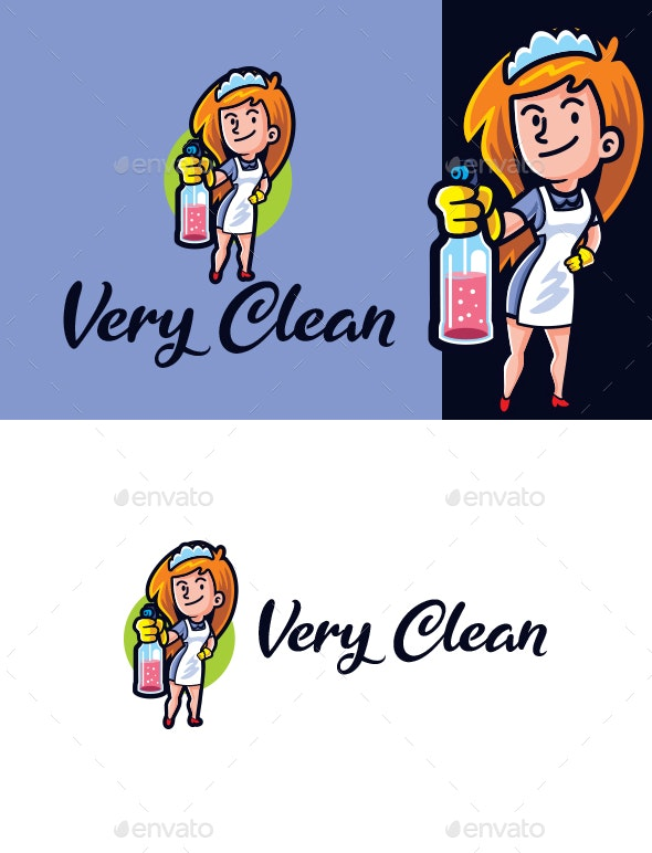 Super Clean - Maid Mascot Logo - Humans Logo Templates