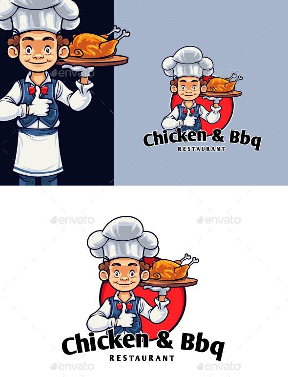 Chicken And BBQ Chef Mascot Logo - Food Logo Templates