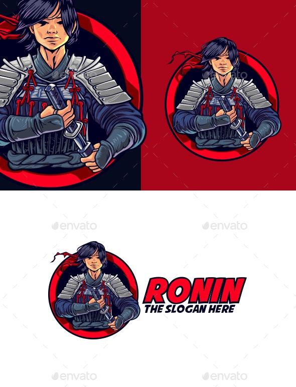 Young Ronin Mascot Logo - Humans Logo Templates