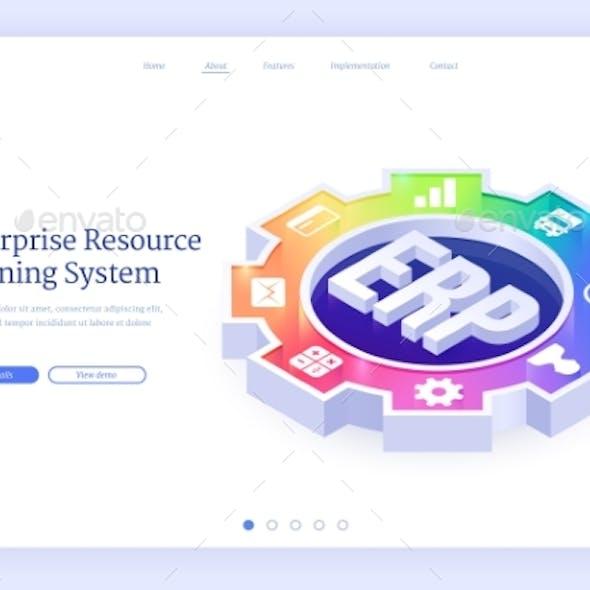 ERP Enterprise Resource Planning Isometric Landing