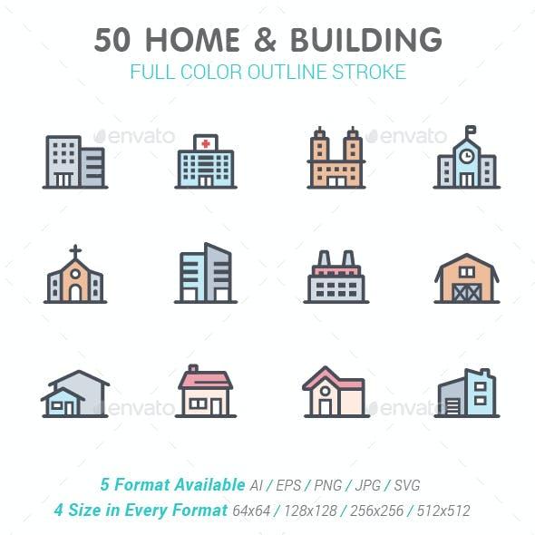 50 Home & Building Color Icon
