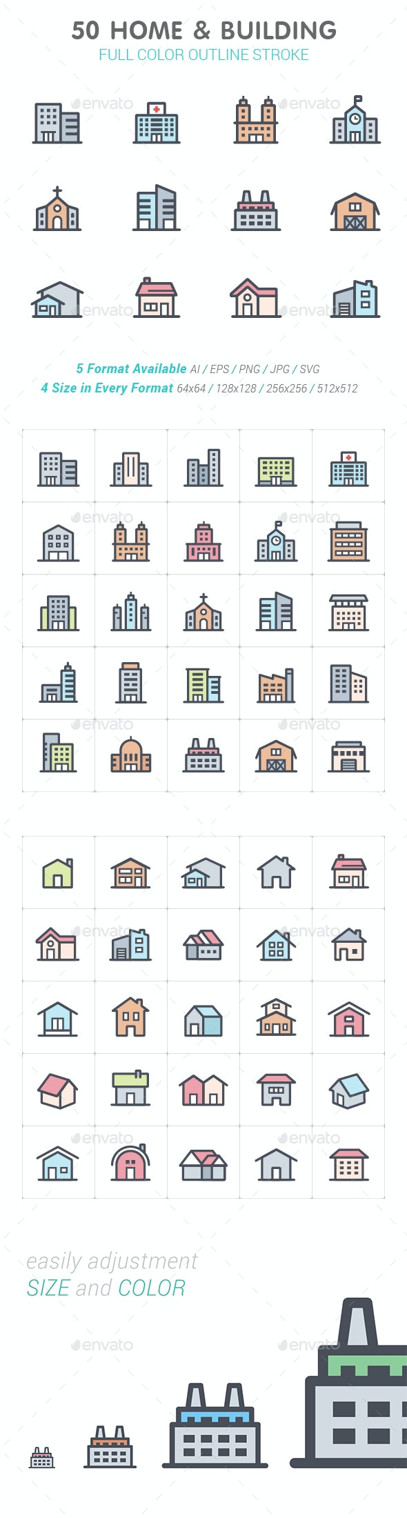 50 Home & Building Color Icon - Buildings Objects